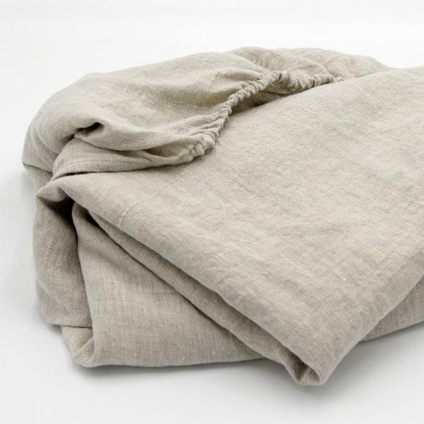 drap housse pur lin couleur lin naturel taille 140x200x25