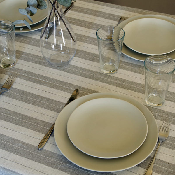 nape en pur lin a rayures beige couleur lin naturel