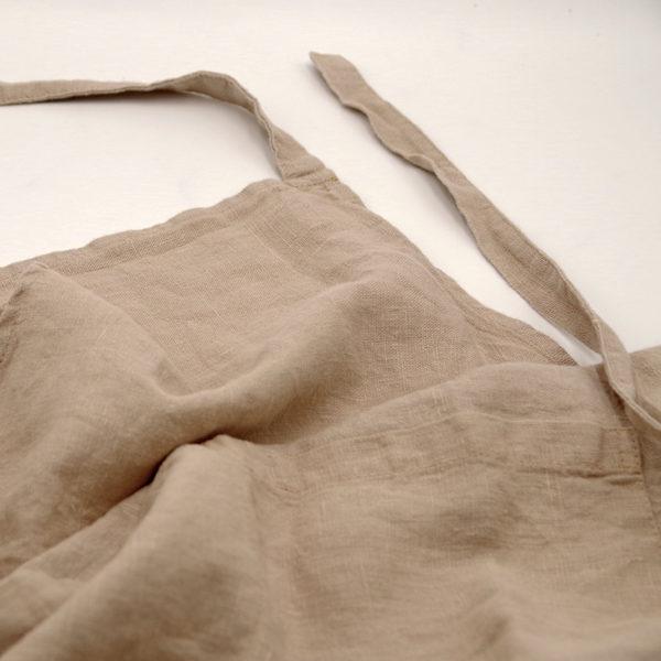 tablier d'office pur lin lavé avec deux grandes poches
