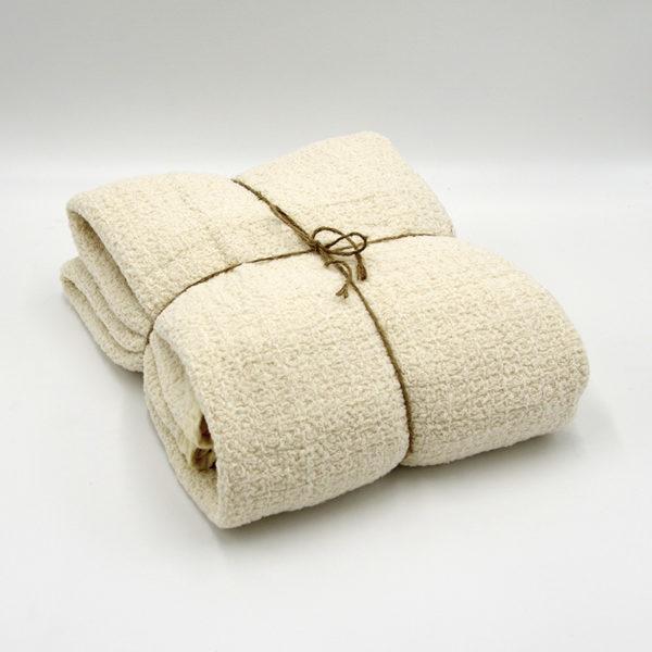 plaid pur lin lavé joli tissage gaufré couleur beige
