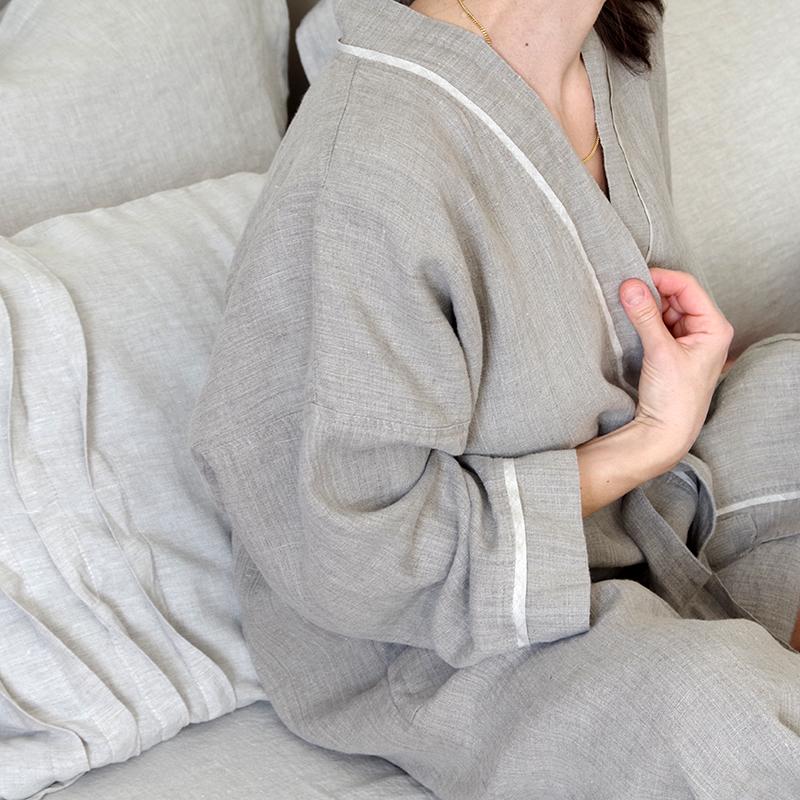 peignoir pur lin lavé pour femme