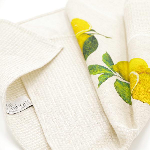 joli torchon en lin couleur beige imprimé citron