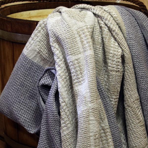 serviette drap de bain en lin lavé tissage gaufré couleur beige et gris lin naturel