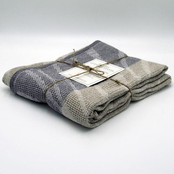 serviette drap de bain en lin lavé tissage gaufré couleur beige lin naturel