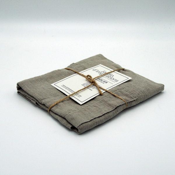 tablier japonais croise dans le dos pur lin lavé avec deux grandes poches