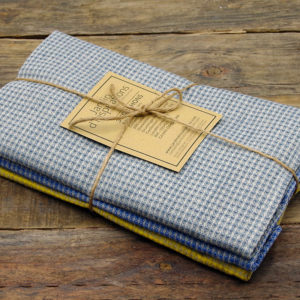 3 torchons en lin naturel tissage gaufre imprime