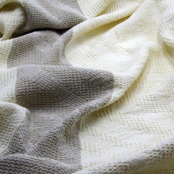 serviette drap de bain en lin lavé tissage gaufré couleur beige lin naturel lavé
