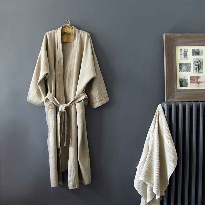 peignoir en pur lin lave pour homme et femme