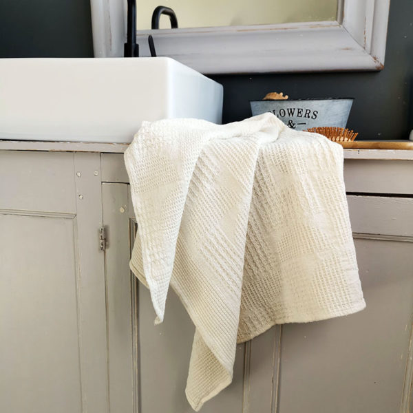 serviette en lin lave tissage gaufree couleur ecru