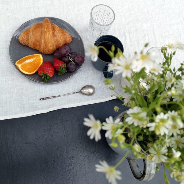 chemin de table pur lin lave couleur blanc