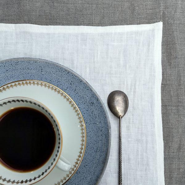 set de table en pur lin lavé couleur blanc